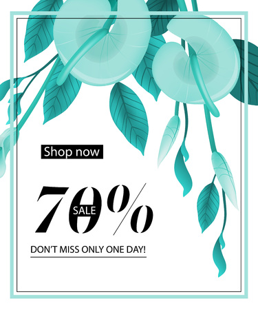Shop now, seventy percent sale, do not miss only one day, coupon design with mint calla lily and frame. Text can be used for flyers, posters, banners.