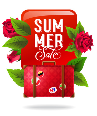 Summer sale, colorful poster design with red roses and suitcase. Calligraphic text on red square can be used for labels, brochures, banners