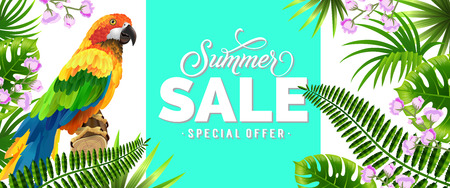 Summer sale, special offer blue banner design with tropical leaves, lilac flowers and parrot. Text can be used for poster, labels, brochures