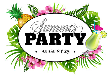 Summer party august twenty five invitation design with palm leaves, flowers, pineapple and cocktail. Typed and calligraphic text in oval, frame can be used for posters, banners, flyers Ilustração