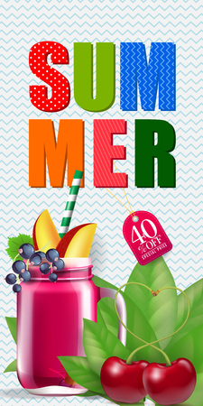Summer forty present off lettering with cocktail and cherries. Summer offer or sale advertising design. Handwritten and typed text, calligraphy. For leaflet, brochure, invitation, poster or banner.