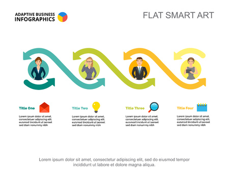 Four employees options process chart template for presentation. Vector illustration. Abstract elements of diagram, graph. Project, planning, business or teamwork concept for infographic, report.