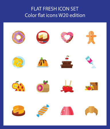Icon set of bakery and chocolate. Dessert, confectionary, snack. Sweet food concept. For topics like cafe, unhealthy eating, gastronomy
