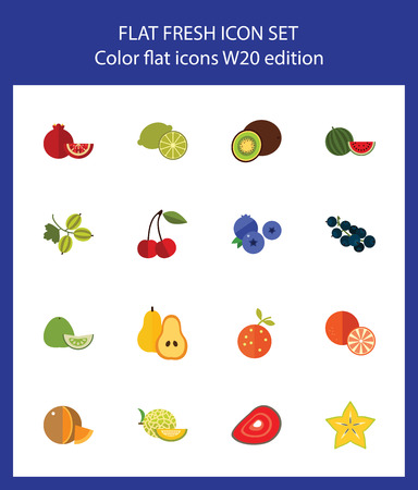 Icon set of fruits and berries. Vegan, organic food, healthy eating. Food concept. For topics like dieting, agriculture, food