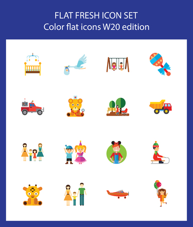 Icon set of childhood symbols. Family, toys, childcare. Children concept. For topics like parenthood, relationship, upbringing Ilustracja