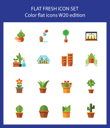 Icon set of houseplants. Horticulture, floriculture, potted plants. Plants concept. For topics like hobby, business, agriculture