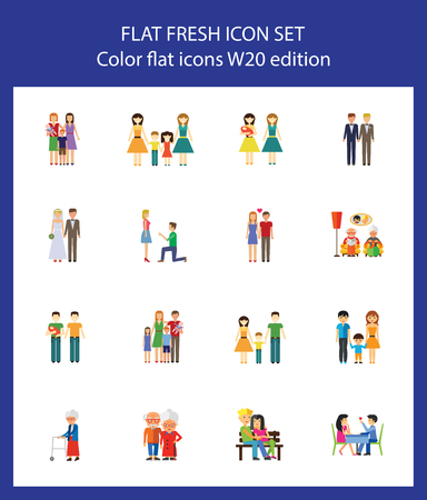 Icon set of human relationships. Family, couple, dating. People concept. For topics like relations, love, traditional and nontraditional family