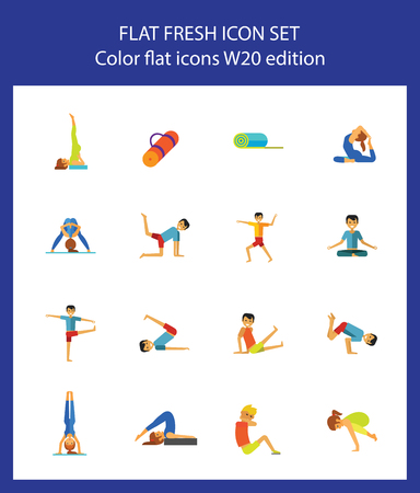 Icon set of man and woman practicing yoga poses. Relaxation exercise, meditation, pilates. Fitness concept. For topics like sport, health, wellbeing