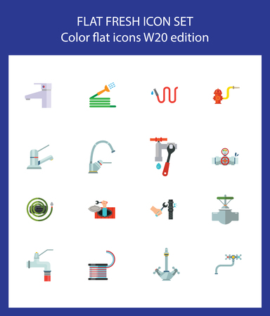 Nineteen plumbing flat vector icons collection on white background. Can be used for topics like sanitary, household, service, fixing pipe
