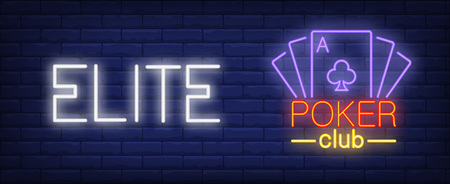 Elite poker club vector illustration in neon style. Text and playing cards on brick wall background. Night bright advertising design, banner, sign. Gambling and gaming concept