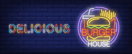 Delicious burger house neon sign. French fries, coke and tasty burger.  Vector illustration in neon style for fast food cafe or delivery Ilustração