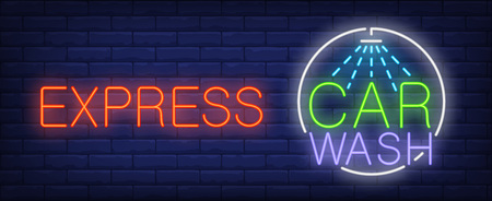 Express car wash neon sign. Luminous signboard with car shower. Night bright advertisement. Vector illustration in neon style for automobile service commercial Illustration