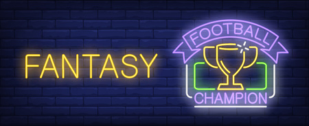 Football champion fantasy neon sign. Cup of soccer championship winner. Vector illustration in neon style for sport competition or game