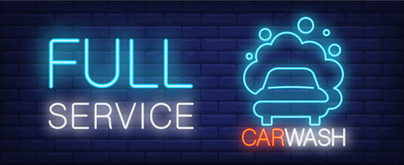 Full service car wash neon sign. Vehicle in foam and luminous inscription on brick wall. Vector illustration in neon style for cleaning company