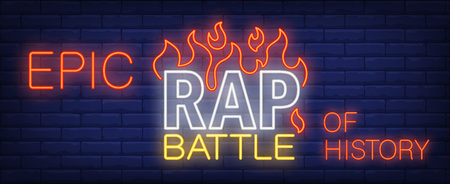 Epic rap battle of history neon sign. Bright inscription with flame tongues on brick wall. Vector illustration in neon style for video preview or concert banner
