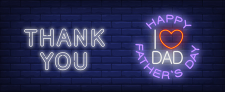 Thank you, I love you dad vector illustration in neon style. Text and red heart shape on brick wall background. Night bright design, banner, sign. Family and fathers day, concept Stock Illustratie