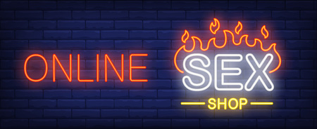 Online sex shop neon sign. Firing word o dark brick wall. Vector illustration in neon style for sex store or erotic entertainment Vectores