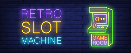 Retro slot machine neon style banner on brick background. Arcade machine with lettering. Game room, nightclub, videogame. Can be used for advertising, street wall sign, web design Ilustração