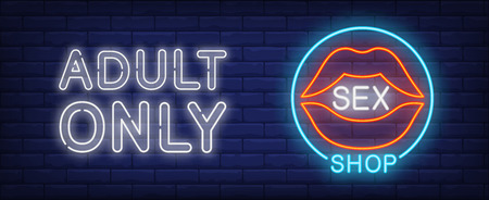 Sex shop neon sign. Open sensual female lips in blue circle. Adult only lettering on brick wall. Vector illustration in neon style for store or temptation