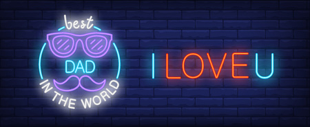 I love u, best dad in the world vector illustration in neon style. Colorful text, glasses and moustache on brick wall background. Night bright design, banner, sign. Family concept Çizim