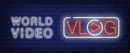World video on vlog neon sign. Vlog lettering with player button instead of O letter in white frame. Vector illustration in neon style for popular video channel or internet