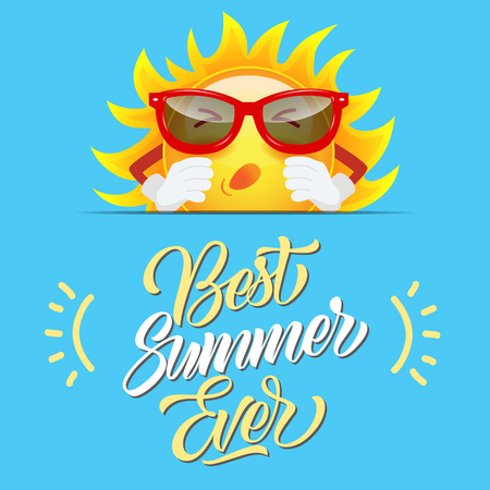 Best summer ever greeting design with sun cartoon character in sunglasses on sly blue background. Calligraphic text can be used for cards, postcards, posters, banners. Иллюстрация