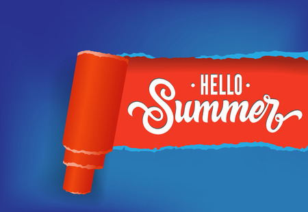 Hello summer creative banner design in red and blue colors. Handwritten text can be used for signs, labels, flyers, banners Illustration