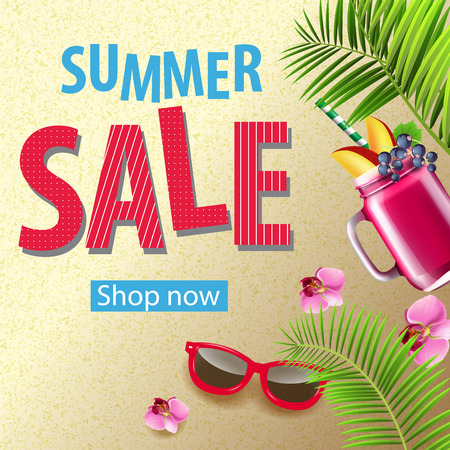 Summer sale promotion banner design with pink flowers, sunglasses, mug of berry smoothie and palm leaves. Text can be used for signs, labels, flyers, banners