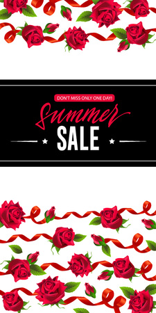 Summer sale only one day vertical banner design with red ribbons and roses. Handwritten text on black rectangle can be used for posters, signs, flyers.