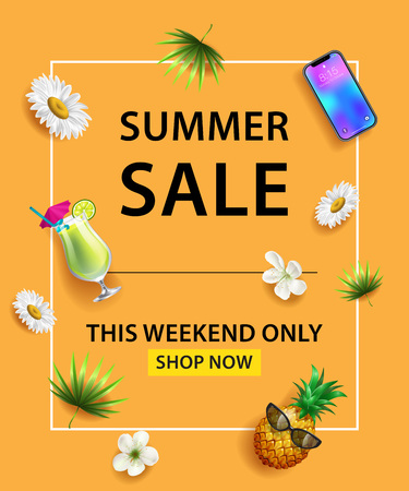 Summer Sale poster. Smartphone, cocktail, pineapple, flower and leaves on orange background. This Weekend Only Shop Now lettering. Sale banner. Can be used for poster, leaflets and brochure Illustration