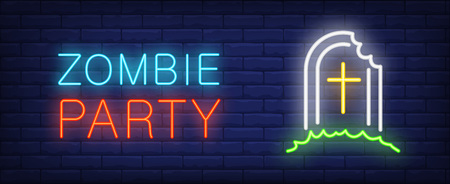 Zombie party neon style lettering. Tombstone with bitebrick wall. Costume party, Halloween night, horror film poster. Can be used for advertising, signboard, web design