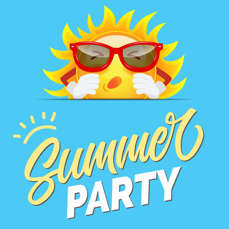 Summer party greeting design with cartoon sun in sunglasses on sly blue background. Calligraphic text can be used for cards, invitations, banners, posters. Vectores