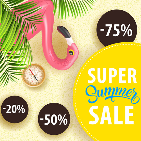 Super summer sale poster design with palm leaves, flamingo swim tube, compass and discount stickers. Text on yellow circle can be used for coupons, signs, banners.