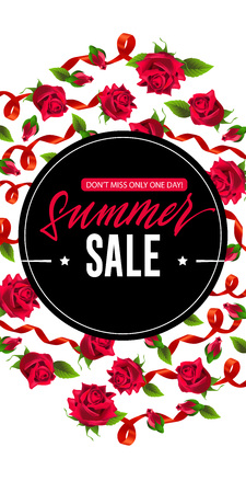 Summer sale, only one day vertical banner design with red ribbons and roses. Calligraphic text on black circle can be used for posters, signs, flyers