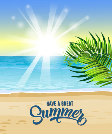 Have great summer greeting card design with ocean tropical leaves have great summer greeting card design with ocean tropical leaves beach and sunrise m4hsunfo