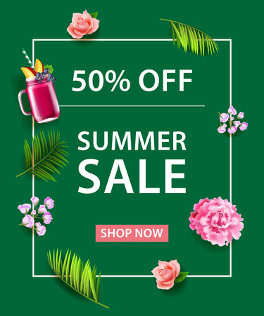 Fifty Percent Off Summer Sale Shop Now lettering. Fruit drink, flowers and palm leaves on green background. Sale banner. For posters, leaflets and brochure