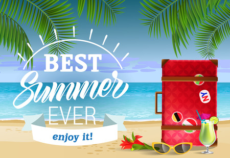 Best summer ever, enjoy it lettering with sea beach and cocktail. Sale advertising design. Handwritten and typed text, calligraphy. For leaflets, brochures, invitations, posters or banners.