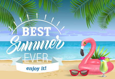 Best summer, enjoy it lettering with sea beach and swimming ring. Sale advertising design. Handwritten and typed text, calligraphy. For leaflets, brochures, invitations, posters or banners.