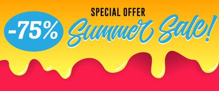 Special offer, summer sale lettering on dripping paint. Summer offer or sale advertising design. Handwritten and typed text, calligraphy. For leaflets, brochures, invitations, posters or banners.