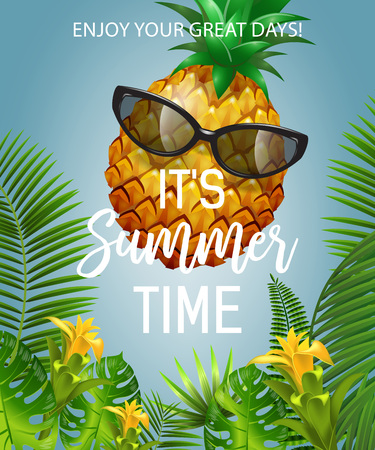 It is summer time lettering with pineapple in sunglasses. Summer offer design. Handwritten and typed text, calligraphy. For leaflets, brochures, invitations, posters or banners.