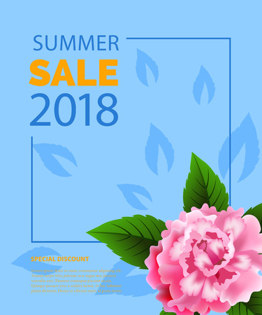 Summer sale lettering in frame with peony. Summer offer or sale advertising design. Typed text, calligraphy. For leaflets, brochures, invitations, posters or banners. Illustration