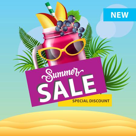 Oferta de verano, nuevo diseño de póster de descuento especial con taza de batido de bayas, gafas de sol, hojas de palmera y dunas de arena. El texto se puede utilizar para carteles, etiquetas, folletos, pancartas.