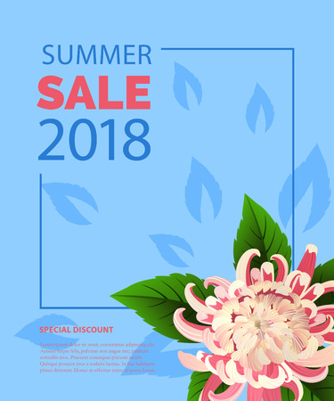 Summer sale lettering in frame with pink flower. Summer offer or sale advertising design. Typed text, calligraphy. For leaflets, brochures, invitations, posters or banners.