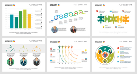 Colorful insurance or marketing concept infographic charts set. Business design elements for presentation slide templates. For corporate report, advertising, leaflet layout and poster design. Vectores