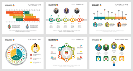 Colorful economy or research concept infographic charts set. Business design elements for presentation slide templates. For corporate report, advertising, leaflet layout and poster design. Banque d'images - 102980023