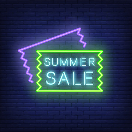 Summer Sale neon signboard design. Vector illustration with glowing blue text in frame and sale flyer shapes. Template for night bright banners, billboards, signs