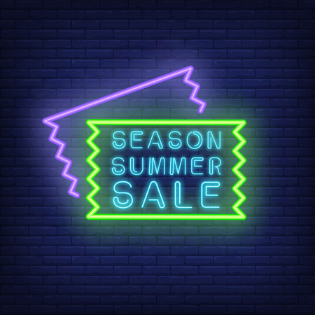 Season Summer Sale neon signboard. Vector illustration with glowing blue text in frame and sale coupon shapes. Template for night bright banners, billboards, signs