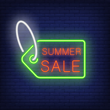 Summer sale text on tag in neon style. Green sale tag with red text on dark brick wall. Night bright advertisement. Vector illustration in neon style for shopping and advertisement