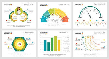 Colorful research or management concept infographic charts set. Business design elements for presentation slide templates. For corporate report, advertising, leaflet layout and poster design.