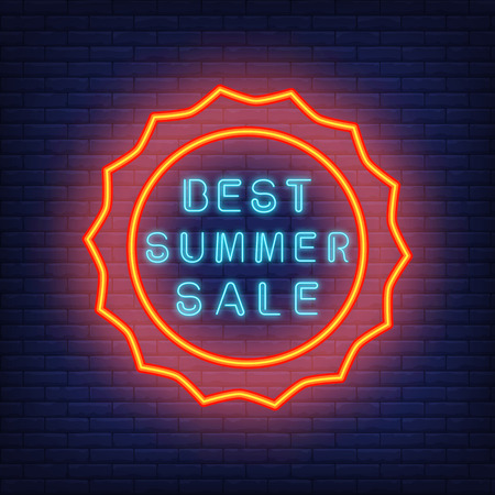 Best summer sale. Vector illustration in neon style. Glowing blue text in round sun shaped red frame. Night bright template for banners, billboards, signboards